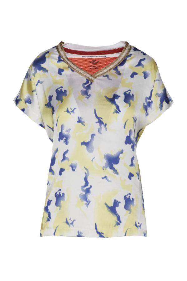 t-shirt blanc indigo motif militaire